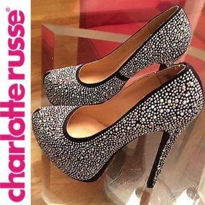 Cinderella Black Rhinestone Heels